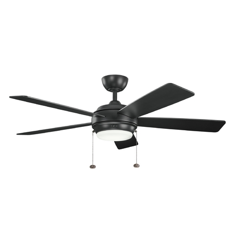 Kichler Lighting Kichler Lighting Starkk Satin Black Ceiling Fan with Light 300173SBK