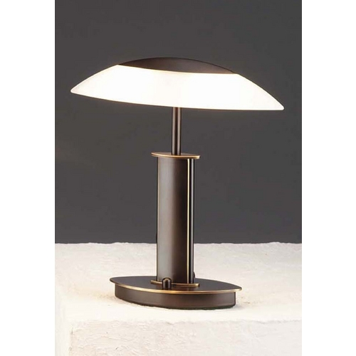 Holtkoetter Lighting Holtkoetter Modern Table Lamp with White Glass in Hand-Brushed Old Bronze Finish 6244 HBOB SW