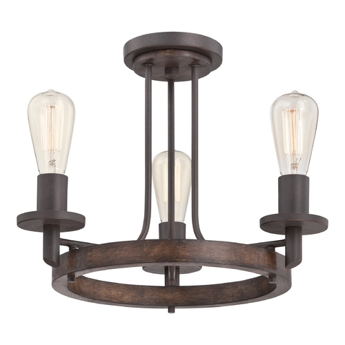 Quoizel Lighting Quoizel Tavern Darkest Bronze Semi-Flushmount Light TVN1717DK