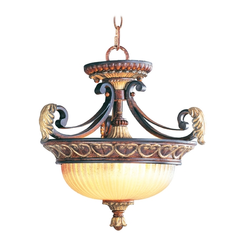 Livex Lighting Livex Lighting Villa Verona Bronze with Aged Gold Leaf Accents Pendant Light with Bowl / Dome Shade 8577-63