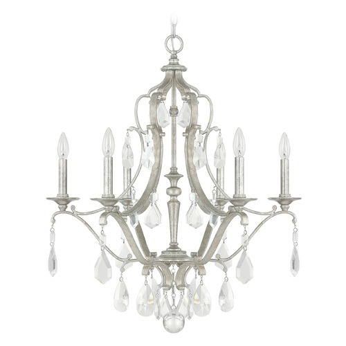 Capital Lighting Capital Lighting Blakely Antique Silver Crystal Chandelier 4186AS-CR
