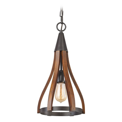 Elk Lighting Elk Lighting Wood Arches Oil Rubbed Bronze, Red Oak Mini-Pendant Light 31575/1