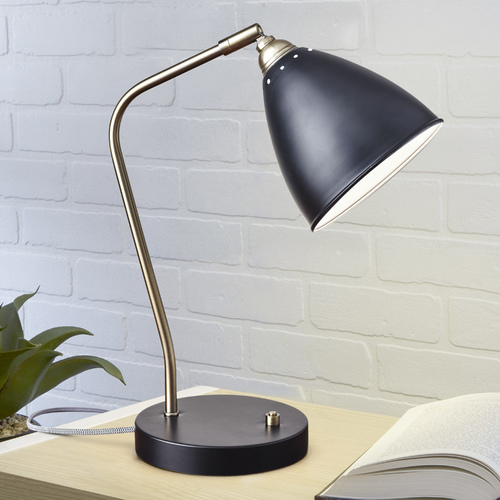 Adesso Home Lighting Mid-Century Modern Desk Lamp Brass and Black Chelsea by Adesso Home Lighting 3463-01