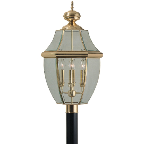 Quoizel Lighting Post Light with Clear Glass in Polished Brass Finish NY9045B