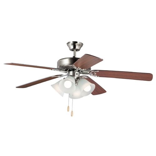 Maxim Lighting Maxim Lighting Basic-Max Satin Nickel / Walnut / Pecan LED Ceiling Fan with Light 89907FTSNWP