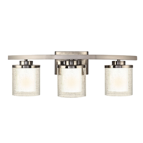 Dolan Designs Lighting Modern Bathroom Light with Clear Seedy and White Glass Shades 3953-09