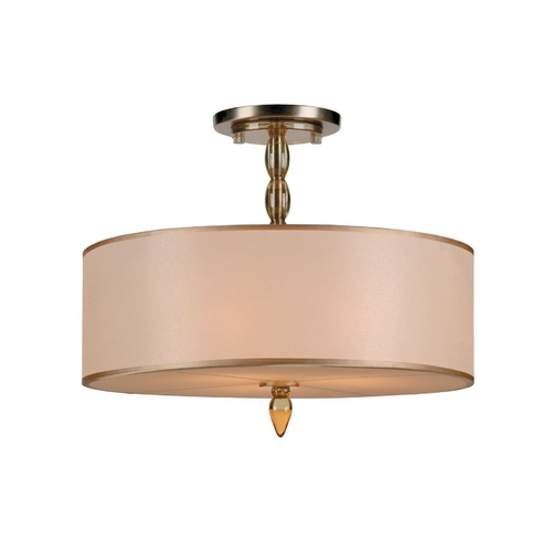 Crystorama Lighting Modern Semi-Flushmount Light with Gold Shade in Antique Brass Finish 9505-AB
