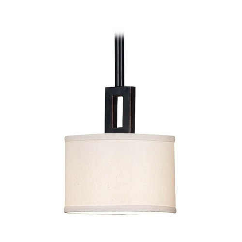 Kenroy Home Lighting Mini-Pendant Light with Beige / Cream Shade 10060ORB