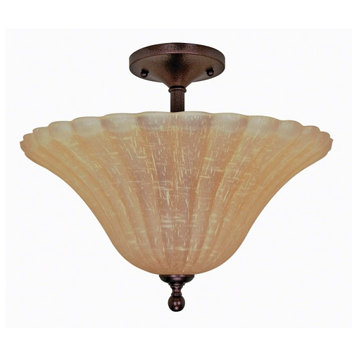 Nuvo Lighting Semi-Flushmount Light with Beige / Cream Glass in Copper Bronze Finish 60/2407