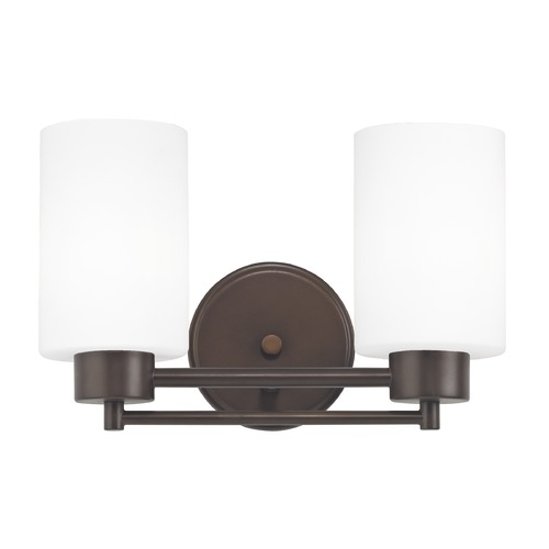 Design Classics Lighting Modern Bathroom Light with White Glass in Bronze Finish 702-220 GL1028C