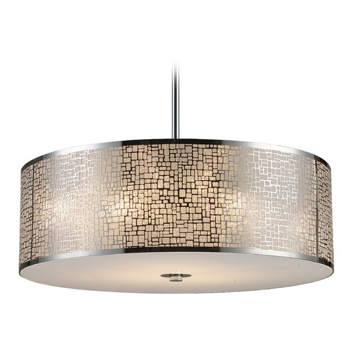 Elk Lighting Elk Lighting Medina Polished Stainless Steel LED Pendant Light with Drum Shade 31043/5-LED