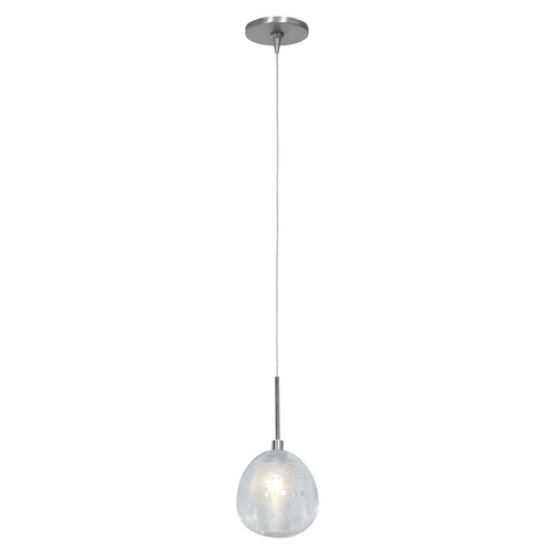 Access Lighting Access Lighting Raindrop Brushed Steel Mini-Pendant Light with Globe Shade 52075UJ-1-BS/CCL