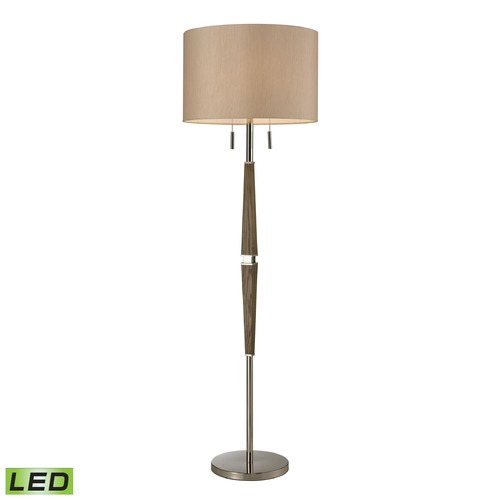 Dimond Lighting Dimond Lighting Wood, Polished Nickel LED Floor Lamp with Drum Shade D2441-LED