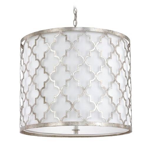 Capital Lighting Capital Lighting Ellis Antique Silver Pendant Light with Drum Shade 4543AS-578