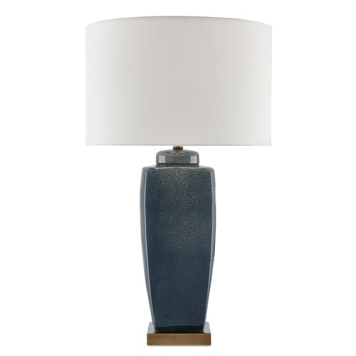 Currey and Company Lighting Currey and Company Stardust Blue/white Speckle/antique Brass Table Lamp with Drum Shade 6000-0018
