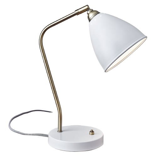 Adesso Home Lighting Mid-Century Modern Desk Lamp Brass / White Chelsea by Adesso Home Lighting 3463-02