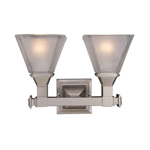 Maxim Lighting Bathroom Light with White Glass in Satin Nickel Finish 11077FTSN
