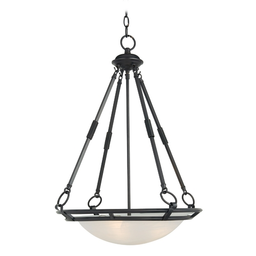 Maxim Lighting Modern Pendant Light with Alabaster Glass Shades in Bronze Finish 2672MRBZ