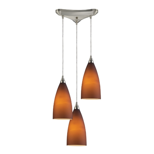 Elk Lighting Modern Multi-Light Pendant Light with Brown Glass and 3-Lights 2582/3