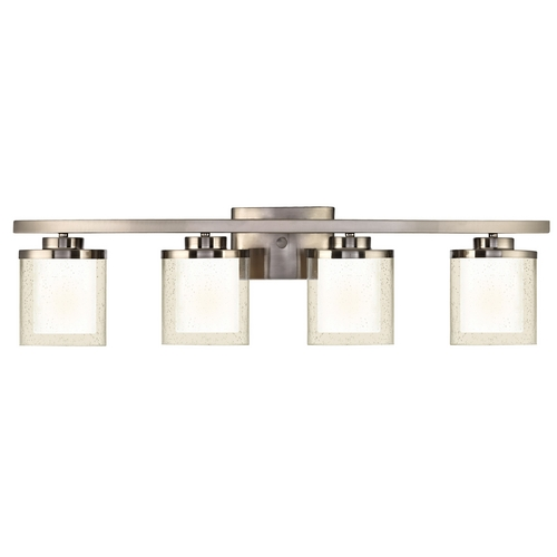 Dolan Designs Lighting Modern Bathroom Light with Clear Seedy and White Glass Shades 3954-09