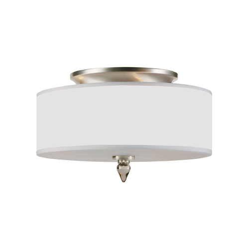 Crystorama Lighting Semi-Flushmount Light with White Shade in Satin Nickel Finish 9503-SN