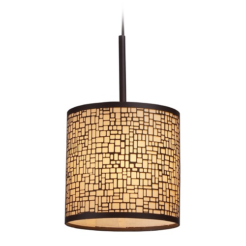 Elk Lighting Elk Lighting Medina Aged Bronze LED Mini-Pendant Light with Cylindrical Shade 31045/1-LED