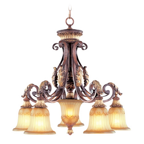Livex Lighting Livex Lighting Villa Verona Bronze with Aged Gold Leaf Accents Chandeliers with Center Bowl 8575-63