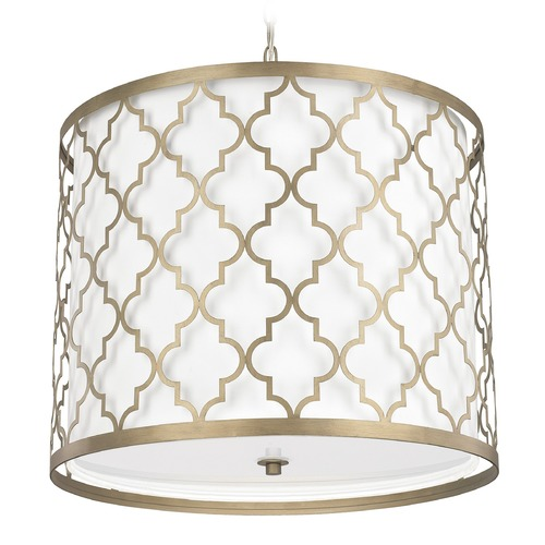 Capital Lighting Capital Lighting Ellis Brushed Gold Pendant Light with Drum Shade 4543BG-578