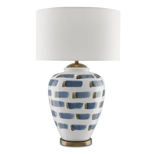 Currey and Company Lighting Currey and Company Brushstroke White/blue/antique Brass Table Lamp with Drum Shade 6000-0019
