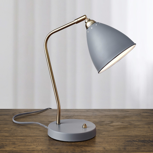 Adesso Home Lighting Mid-Century Modern Desk Lamp Brass and Grey Chelsea by Adesso Home Lighting 3463-03