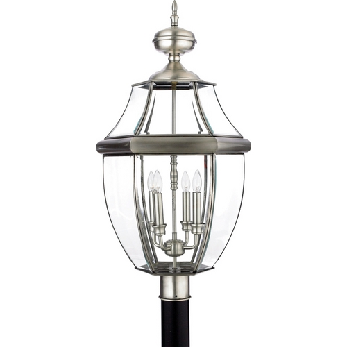 Quoizel Lighting Post Light with Clear Glass in Pewter Finish NY9045P