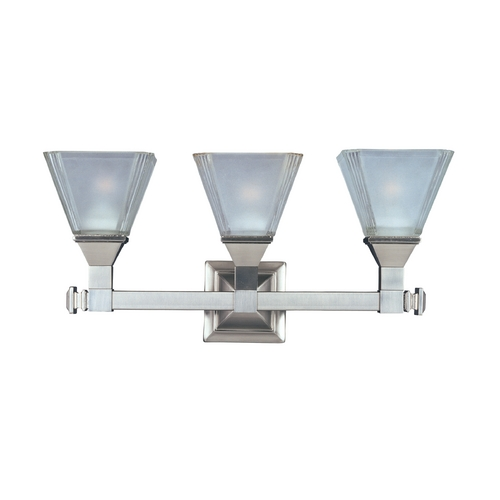 Maxim Lighting Bathroom Light with White Glass in Satin Nickel Finish 11078FTSN