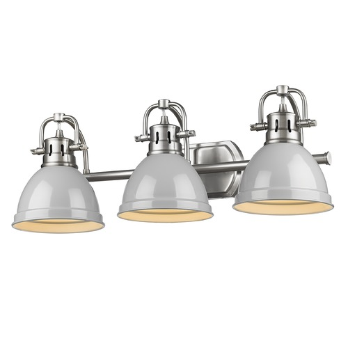 Golden Lighting Golden Lighting Duncan Pewter Bathroom Light with Grey Shade 3602-BA3PW-GY