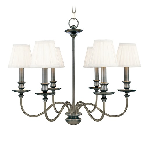 Hudson Valley Lighting Chandelier with White Shades in Antique Nickel Finish 4036-AN