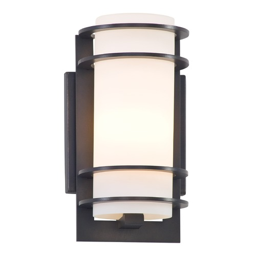 Troy Lighting Outdoor Wall Light with White Glass in Architectural Bronze Finish B6061ARB