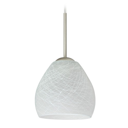 Besa Lighting Besa Lighting Bolla Satin Nickel Mini-Pendant Light with Bowl / Dome Shade 1BT-412260-SN