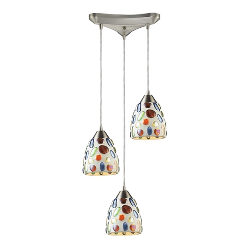 Elk Lighting Modern Multi-Light Pendant Light with Multi-Color Glass and 3-Lights 542-3