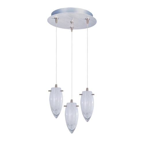 ET2 Lighting Modern Low Voltage Multi-Light Pendant Light with White Glass and 3-Lights E94641-113SN