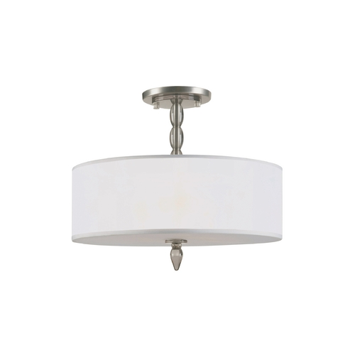 Crystorama Lighting Semi-Flushmount Light with White Shade in Satin Nickel Finish 9505-SN