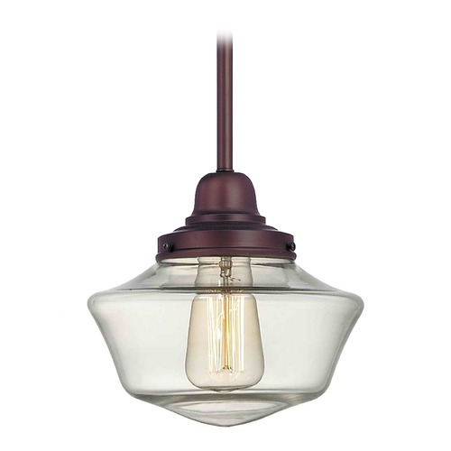 Design Classics Lighting 8-Inch Clear Glass Schoolhouse Mini-Pendant Light in Bronze Finish FB4-220 / GA8-CL