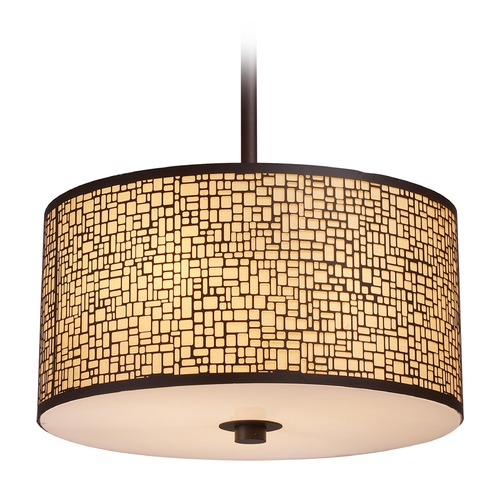 Elk Lighting Elk Lighting Medina Aged Bronze LED Pendant Light with Drum Shade 31046/3-LED