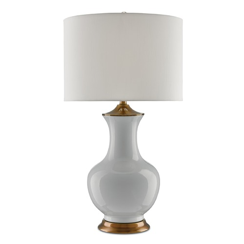 Currey and Company Lighting Currey and Company Lilou White/antique Brass Table Lamp with Drum Shade 6000-0020