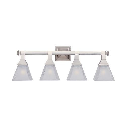 Maxim Lighting Bathroom Light with White Glass in Satin Nickel Finish 11079FTSN
