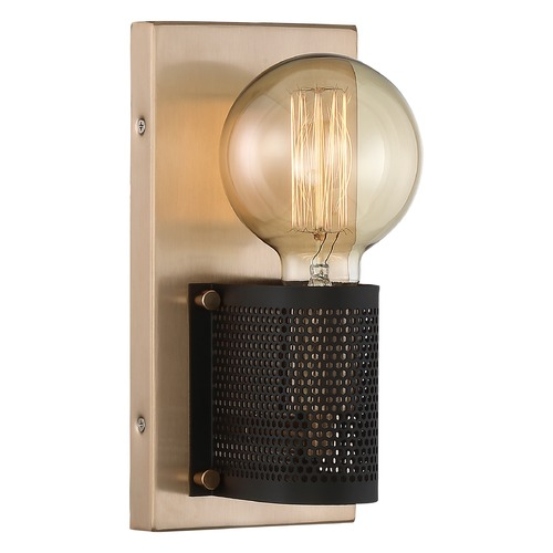 Nuvo Lighting Satco Lighting Passage Copper Brushed Brass / Black Sconce 60/6661