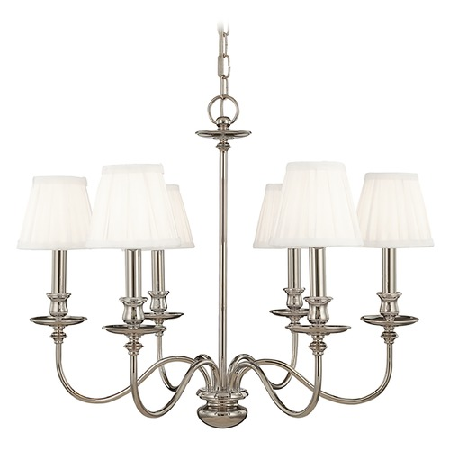 Hudson Valley Lighting Chandelier with White Shades in Polished Nickel Finish 4036-PN