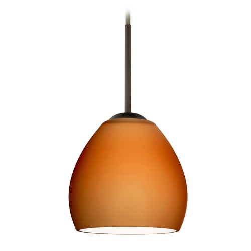 Besa Lighting Besa Lighting Bolla Bronze Mini-Pendant Light with Bowl / Dome Shade 1BT-412280-BR