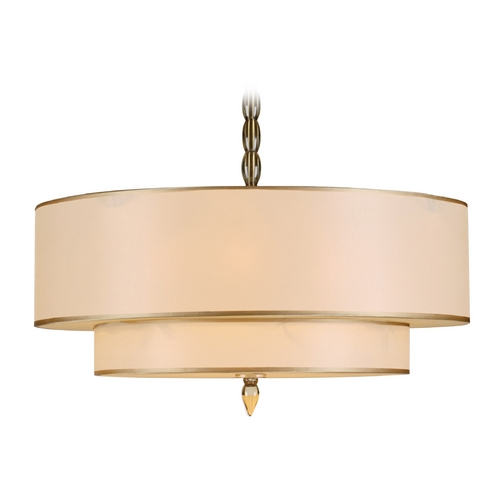 Crystorama Lighting Drum Pendant Light with Gold Shades in Antique Brass Finish 9507-AB