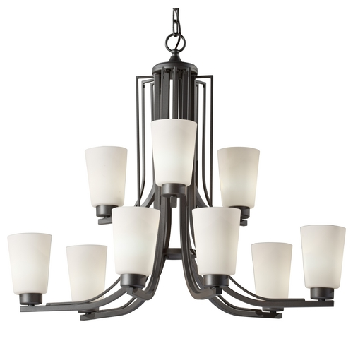 Feiss Lighting Chandelier with White Glass in Colonial Iron Finish F2764/6+3CI