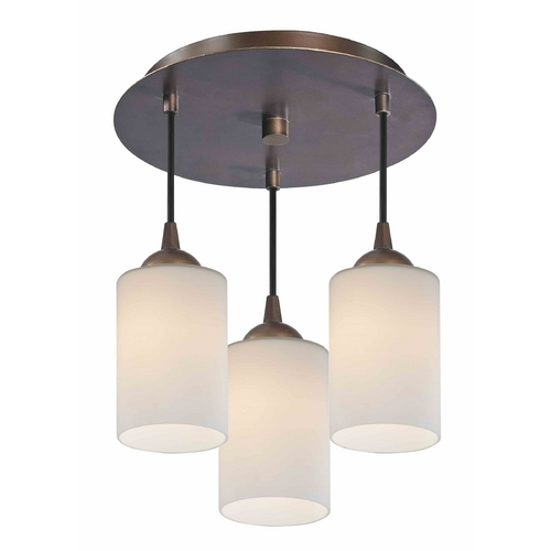 Design Classics Lighting 3-Light Semi-Flush Ceiling Light with White Glass in Bronze Finish - Bronze Finish 579-220 GL1028C