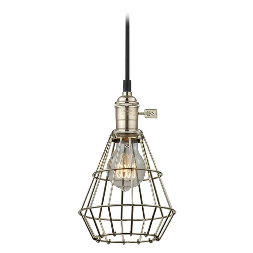 Design Classics Lighting Industrial Hoyt Polished Nickel Mini-Pendant Light With Cage  CA1-15 CAGE1-15